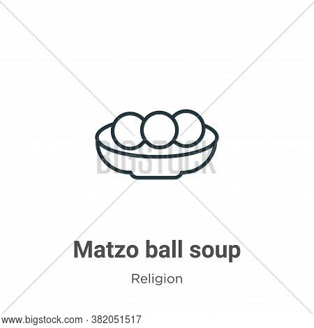 Matzo ball soup icon isolated on white background from religion collection. Matzo ball soup icon tre