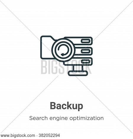 Backup icon isolated on white background from search engine optimization collection. Backup icon tre