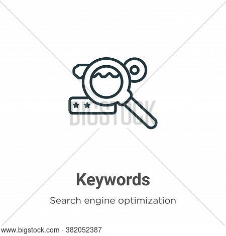 Keywords icon isolated on white background from search engine optimization collection. Keywords icon