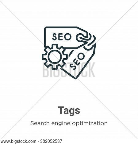 Tags icon isolated on white background from search engine optimization collection. Tags icon trendy