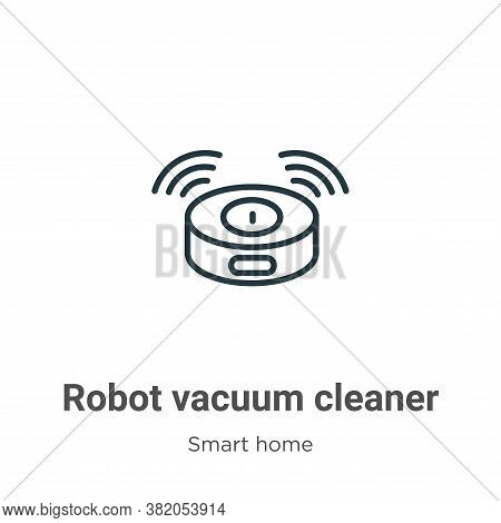 Robot vacuum cleaner icon isolated on white background from smart home collection. Robot vacuum clea