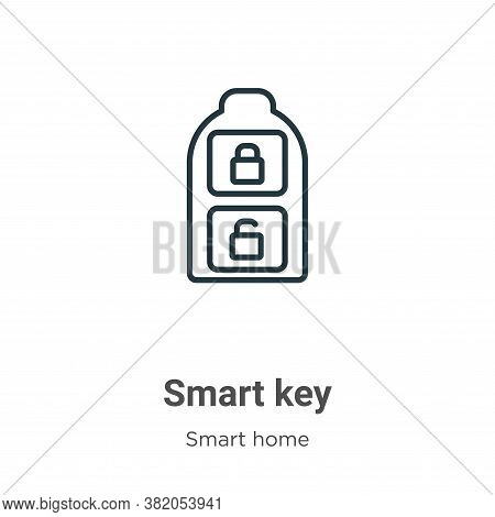 Smart key icon isolated on white background from smart house collection. Smart key icon trendy and m