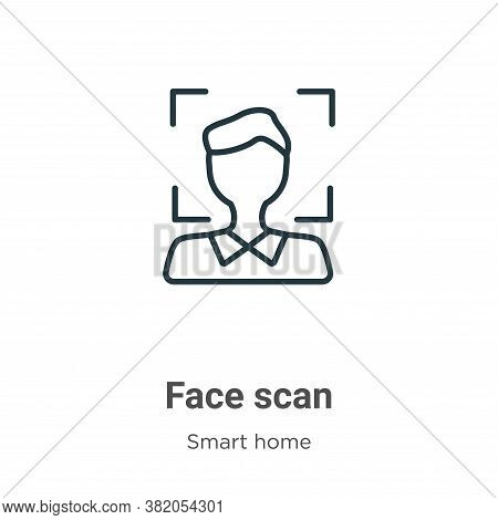 Face scan icon isolated on white background from smart house collection. Face scan icon trendy and m