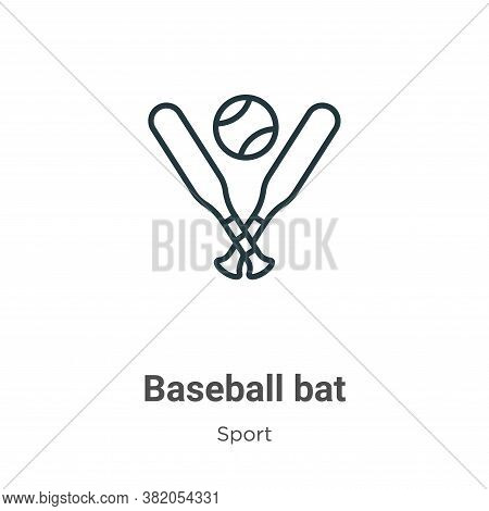 Baseball bat icon isolated on white background from sport collection. Baseball bat icon trendy and m