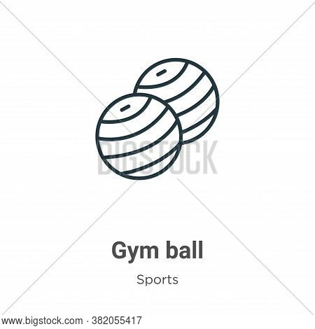 Gym ball icon isolated on white background from sports collection. Gym ball icon trendy and modern G
