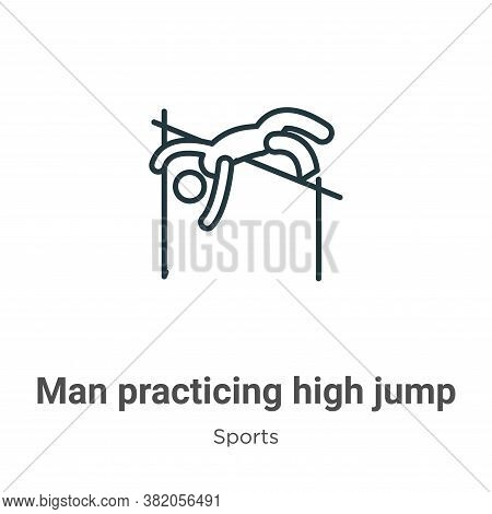 Man practicing high jump icon isolated on white background from sports collection. Man practicing hi