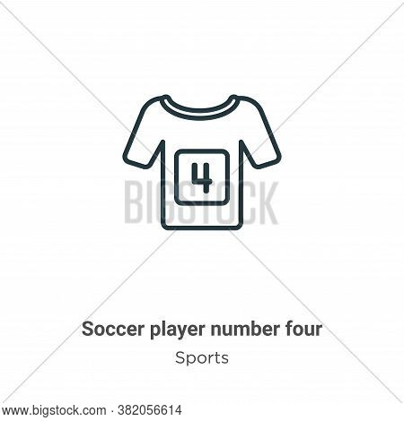 Soccer player number four icon isolated on white background from sports collection. Soccer player nu