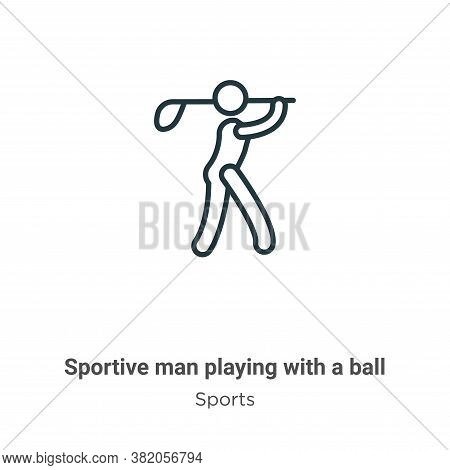 Sportive man playing with a ball icon isolated on white background from sports collection. Sportive