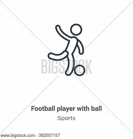 Football player with ball icon isolated on white background from sports collection. Football player