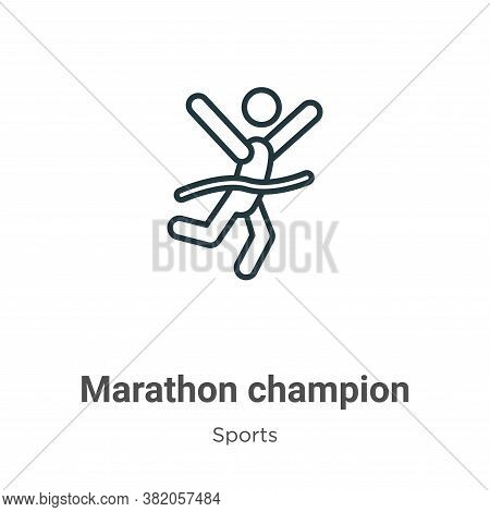 Marathon champion icon isolated on white background from sports collection. Marathon champion icon t