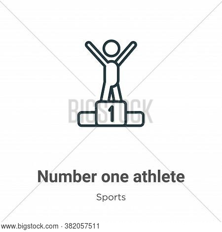 Number one athlete icon isolated on white background from sports collection. Number one athlete icon