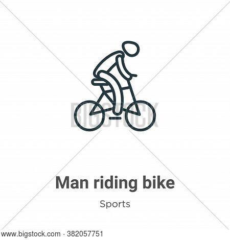 Man riding bike icon isolated on white background from sports collection. Man riding bike icon trend