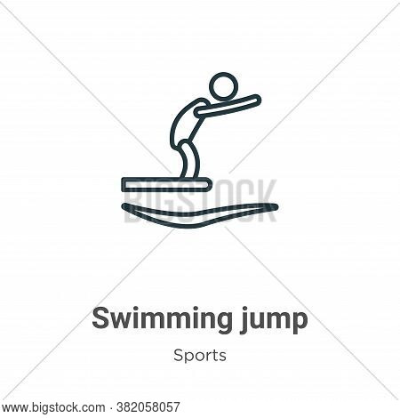 Swimming jump icon isolated on white background from sports collection. Swimming jump icon trendy an