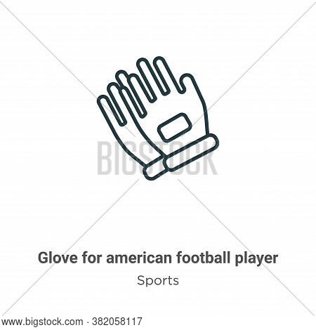 Glove for american football player icon isolated on white background from sports collection. Glove f