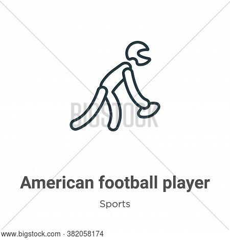 American football player picking the ball icon isolated on white background from sports collection.