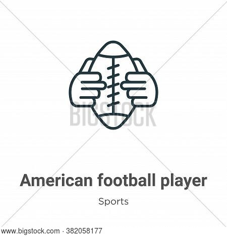 American football player hand holding the ball icon isolated on white background from  collection. A
