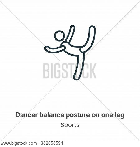 Dancer balance posture on one leg icon isolated on white background from sports collection. Dancer b