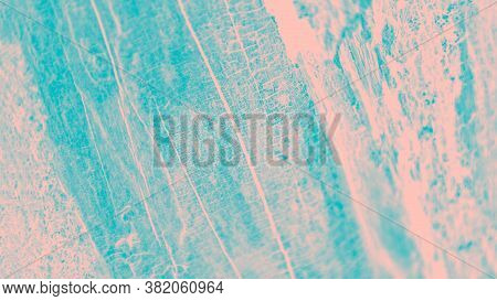 Turquoise And Pale Pink Patchy Background, Wooden Texture, Panorama