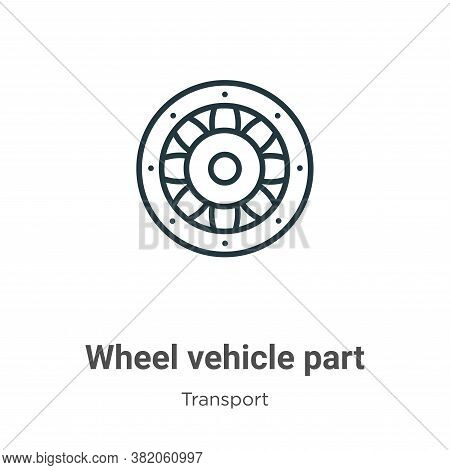 Wheel vehicle part icon isolated on white background from transport collection. Wheel vehicle part i