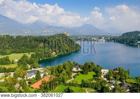 The Castle Of Bled And The Picturesque Lake Bled, A Popular Tourist Destination In Slovenia.