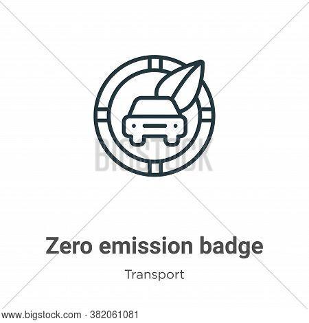 Zero emission badge icon isolated on white background from transport collection. Zero emission badge