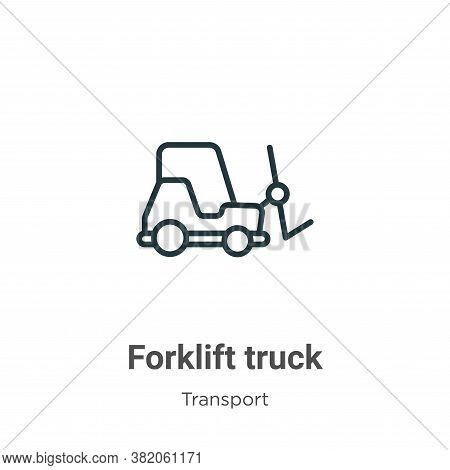 Forklift truck icon isolated on white background from transport collection. Forklift truck icon tren