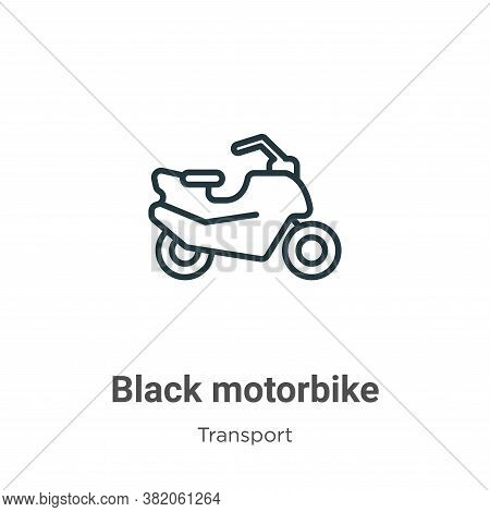 Black motorbike icon isolated on white background from transport collection. Black motorbike icon tr