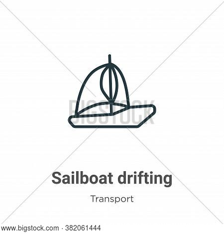 Sailboat drifting icon isolated on white background from transport collection. Sailboat drifting ico