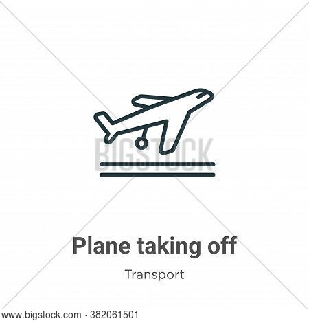 Plane taking off icon isolated on white background from transport collection. Plane taking off icon