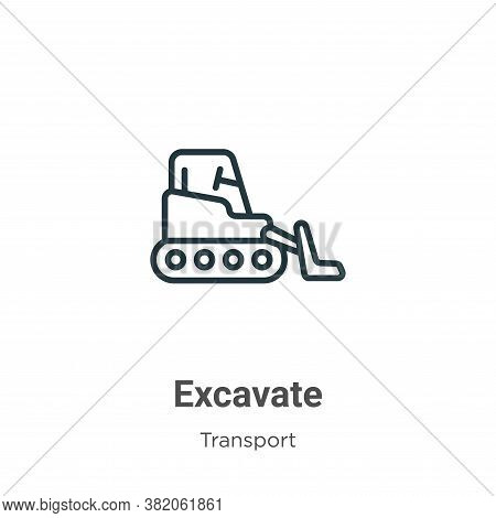 Excavate icon isolated on white background from transport collection. Excavate icon trendy and moder