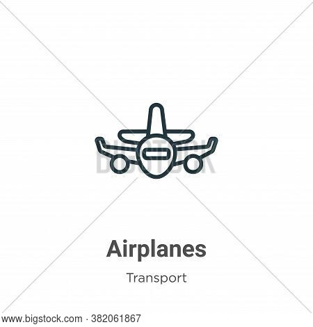 Airplanes icon isolated on white background from transport collection. Airplanes icon trendy and mod
