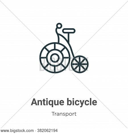 Antique bicycle icon isolated on white background from transport collection. Antique bicycle icon tr