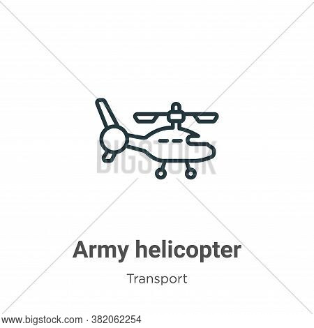 Army helicopter icon isolated on white background from transport collection. Army helicopter icon tr