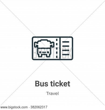 Bus ticket icon isolated on white background from travel collection. Bus ticket icon trendy and mode