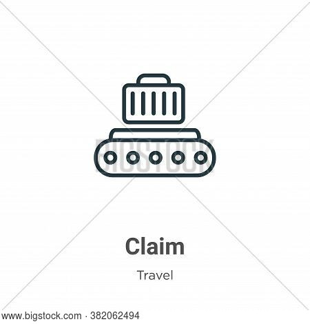 Claim icon isolated on white background from travel collection. Claim icon trendy and modern Claim s