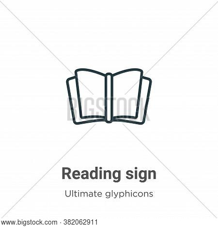 Reading sign icon isolated on white background from ultimate glyphicons collection. Reading sign ico