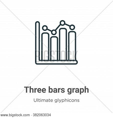 Three bars graph icon isolated on white background from ultimate glyphicons collection. Three bars g