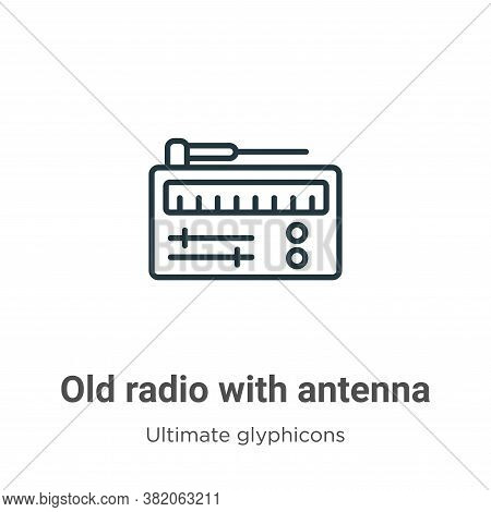 Old radio with antenna icon isolated on white background from ultimate glyphicons collection. Old ra
