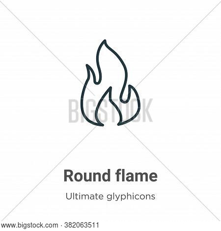 Round flame icon isolated on white background from ultimate glyphicons collection. Round flame icon
