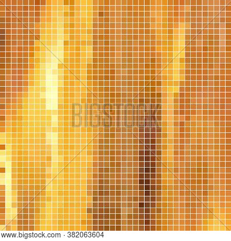 Abstract Vector Square Pixel Mosaic Background - Orange And Yellow