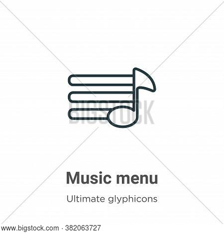 Music menu icon isolated on white background from ultimate glyphicons collection. Music menu icon tr