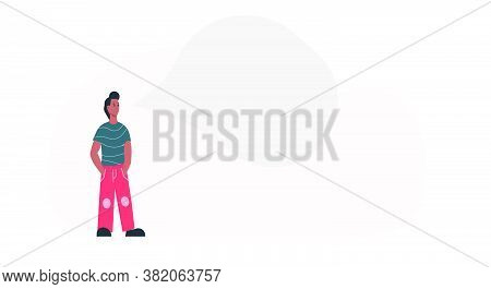 Thinking Afro American Man With Business Idea Concept Vector Illustration. Adult Cartoon Man Think A