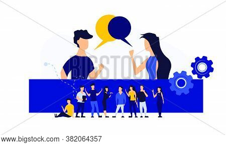 Vector Illustration People Design Concept Business Problem Abstract. Cartoon Idea Solution Unravel B