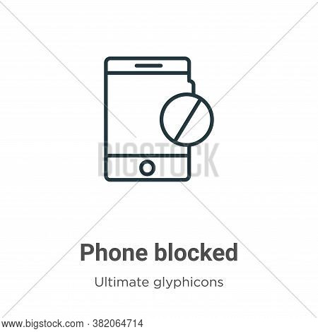 Phone blocked icon isolated on white background from ultimate glyphicons collection. Phone blocked i