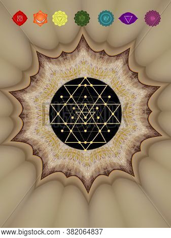Spiritual Background For Meditation With Chakras And Mandala Isolated In Color Background