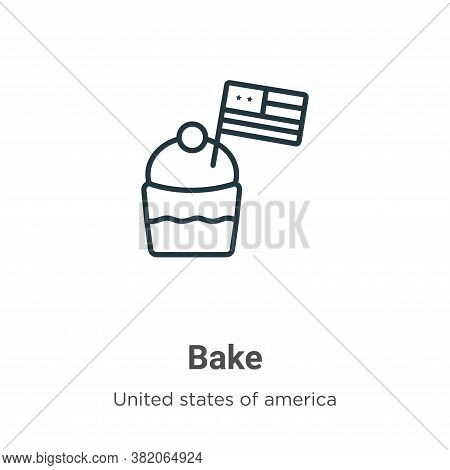Bake icon isolated on white background from united states of america collection. Bake icon trendy an
