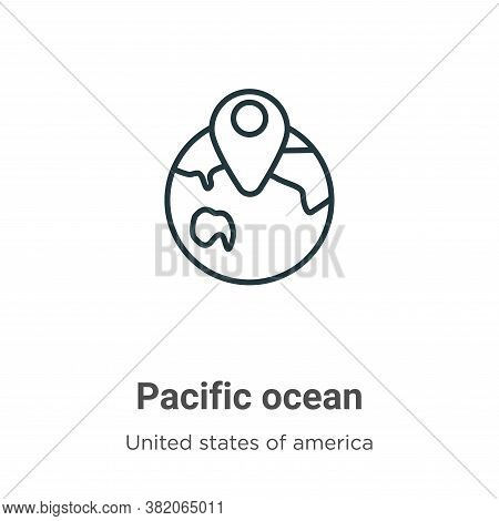 Pacific ocean icon isolated on white background from united states of america collection. Pacific oc