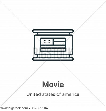 Movie icon isolated on white background from united states collection. Movie icon trendy and modern