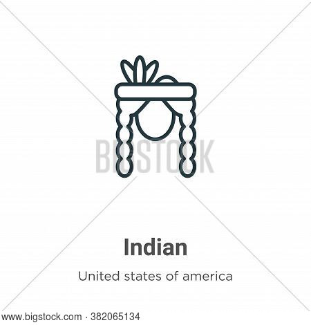 Indian icon isolated on white background from united states collection. Indian icon trendy and moder