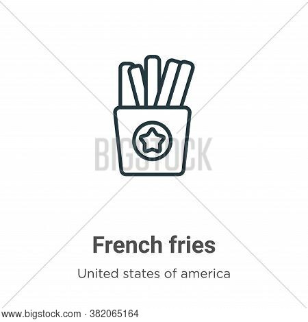 French fries icon isolated on white background from united states collection. French fries icon tren